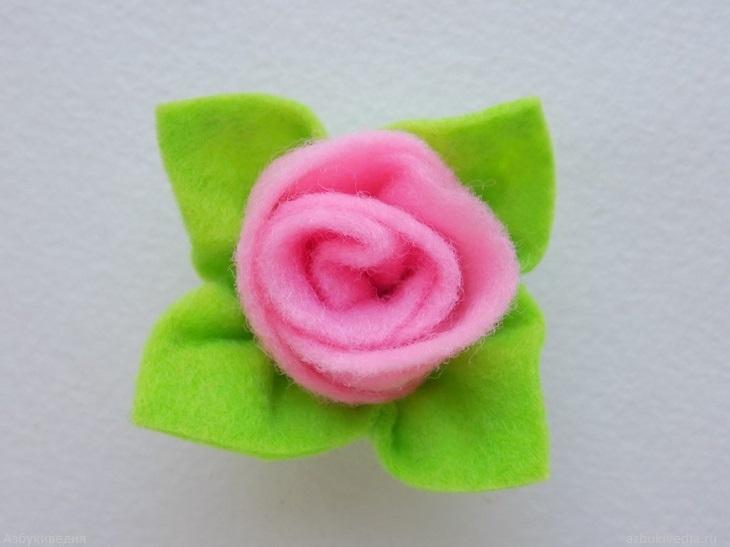 Как сделать бутон розы из фетра