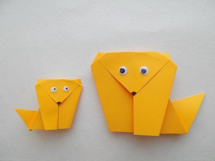 Как сделать лисичку из бумаги в технике оригами