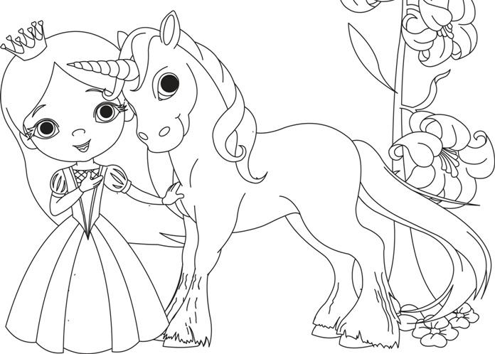 детская раскраска принцесса и единорог скачать и