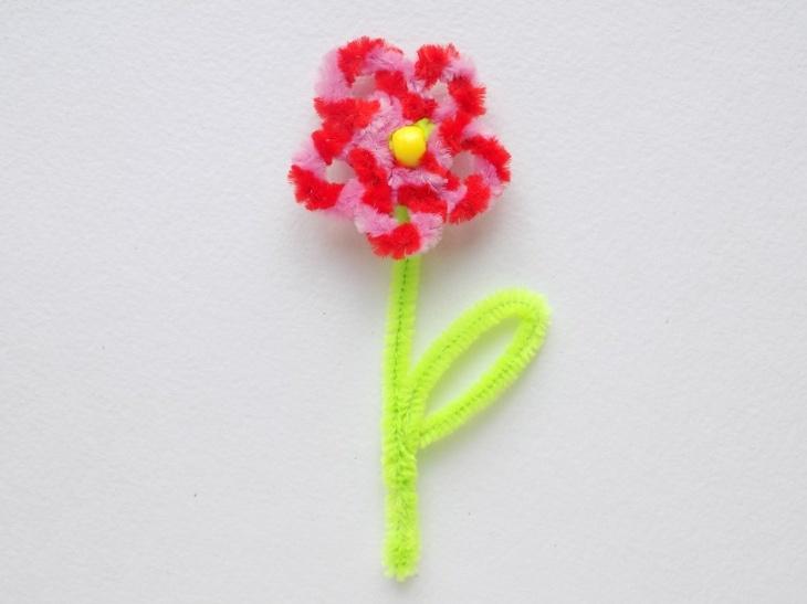 Как сделать простой цветок из синельной проволоки