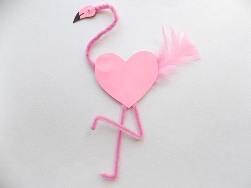 Как сделать фламинго из синельной проволоки и картона
