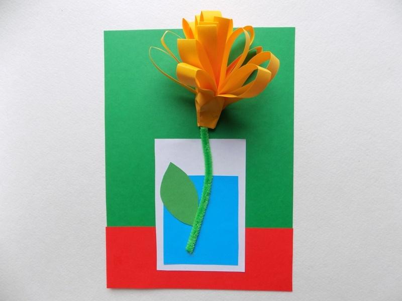 Открытка с объемным цветочком из бумаги и картона