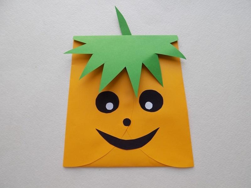 Поделки к Хэллоуину. Тыква-сумочка из бумаги для сюрприза