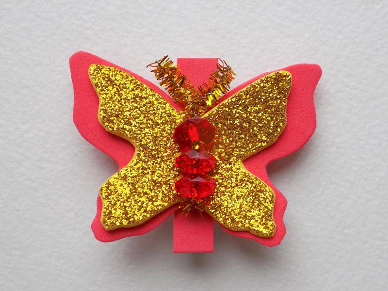 Как сделать заколку в виде бабочки из фоамирана, бусин и синельной проволоки