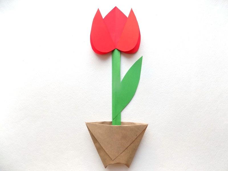 Как сделать тюльпан в горшочке из бумаги