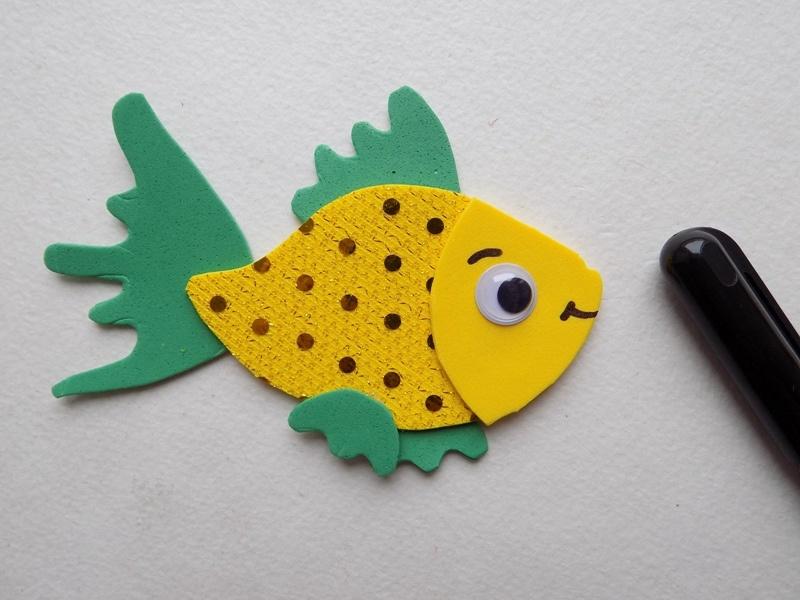 Как сделать золотую рыбку из фоамирана
