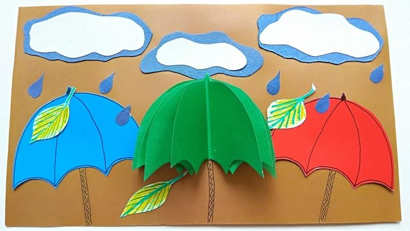 Осенняя аппликация с зонтиками из бумаги