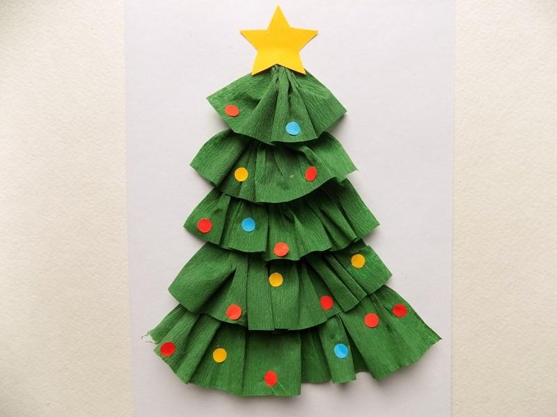 Как сделать новогоднюю открытку с ёлочкой из гофрированной бумаги