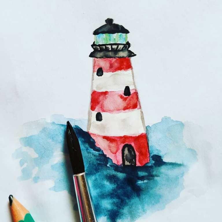 Как нарисовать скетч акварелью маяк
