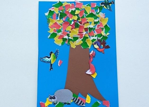 Аппликация из бумаги Осеннее дерево