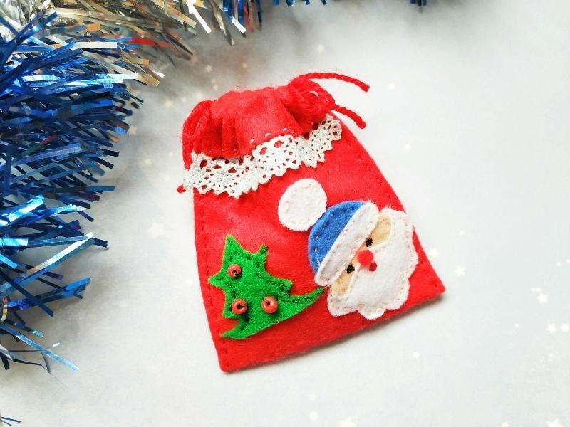 Как сшить мешочек для подарков из фетра