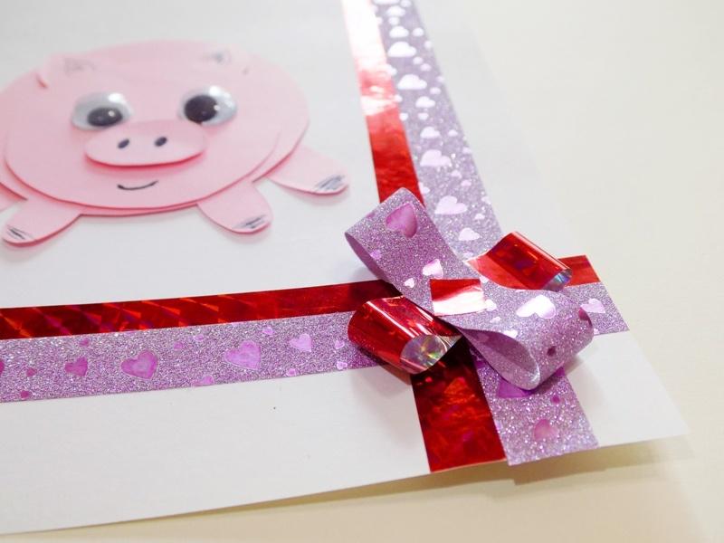 Как сделать новогоднюю открытку к 2019 г. «Свинка с круглыми боками»