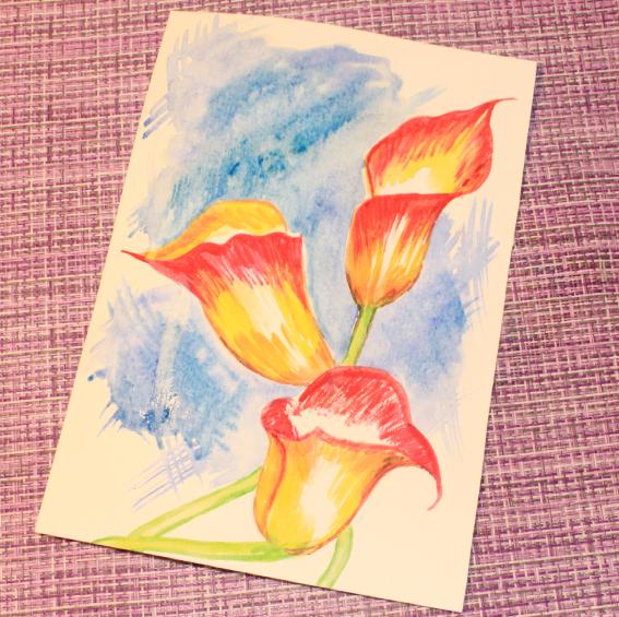 Как нарисовать акварелью скетч «Красные каллы»