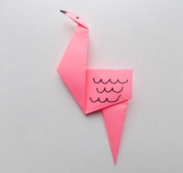 Как сделать фламинго из бумаги в технике оригами