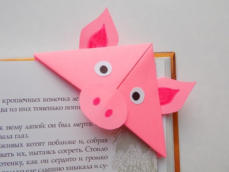 Как сделать закладку для книг в виде свиньи