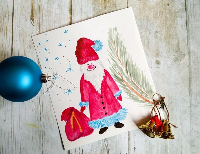 Как нарисовать Деда Мороза акварелью