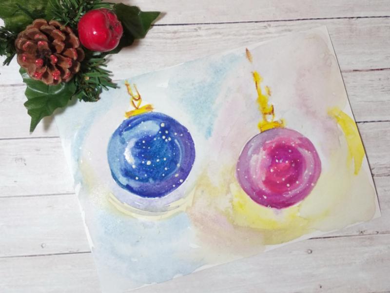 Как нарисовать ёлочные шары акварелью
