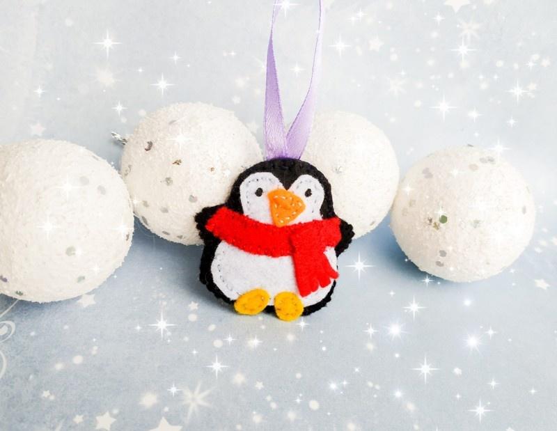 Как сшить ёлочную игрушку Пингвин из фетра