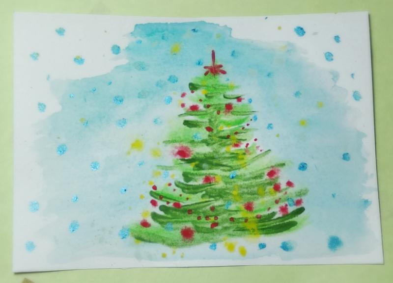 Как нарисовать новогоднюю ёлочку акварелью