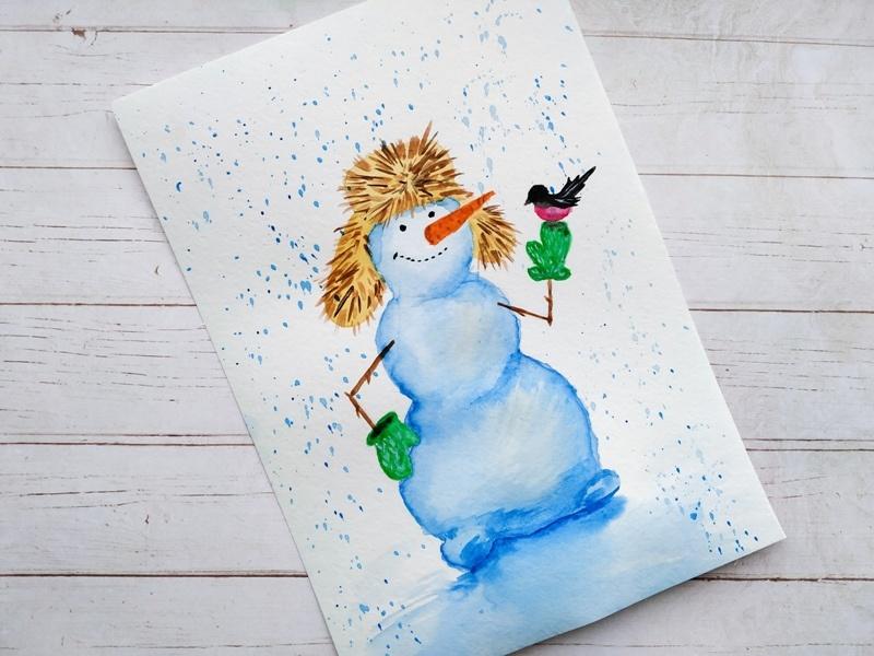 Как нарисовать снеговика акварелью