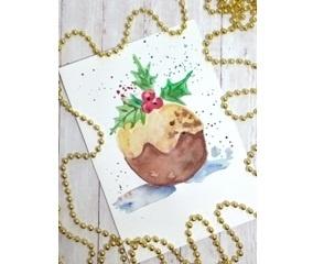 Рисунок акварелью «Зимний кекс»