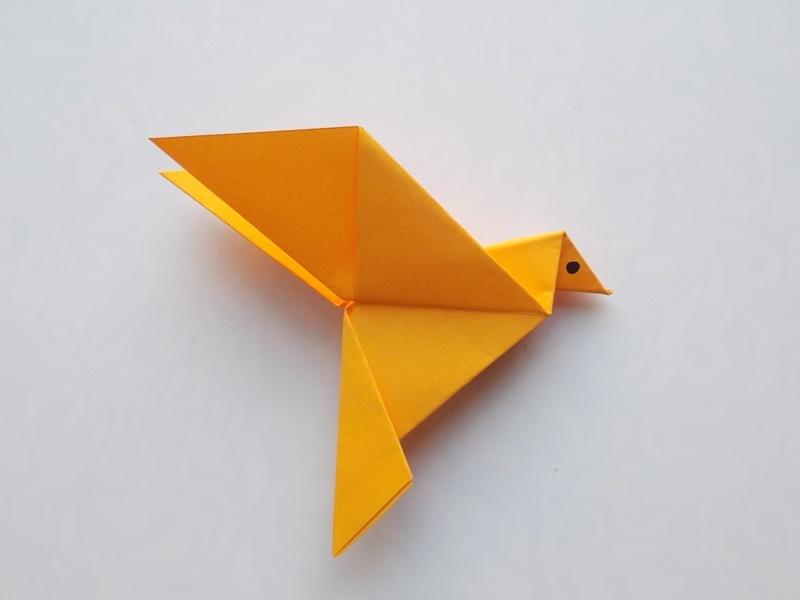 Как сделать птицу из бумаги в технике оригами