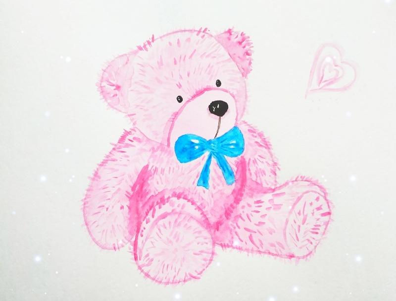 Как нарисовать скетч Медвежонок акварелью