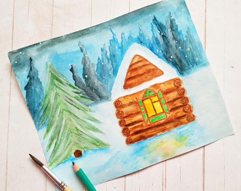 Как нарисовать акварелью скетч Зимний домик