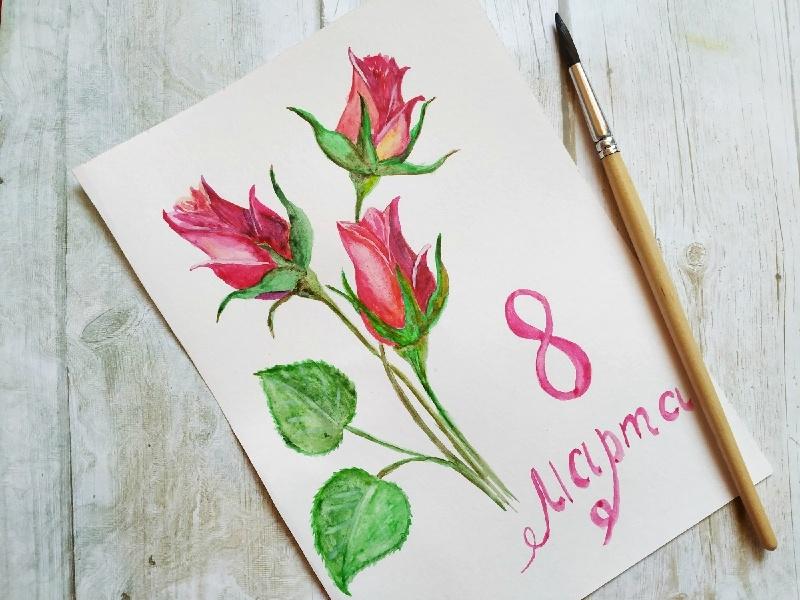 Как нарисовать акварелью скетч - открытку к 8 марта
