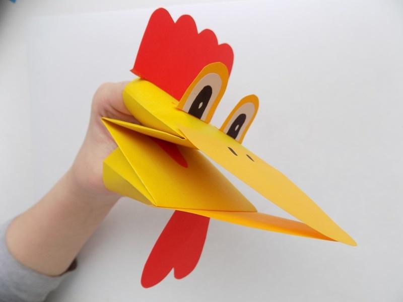 Как сделать подвижную игрушку на руку Петушок из бумаги