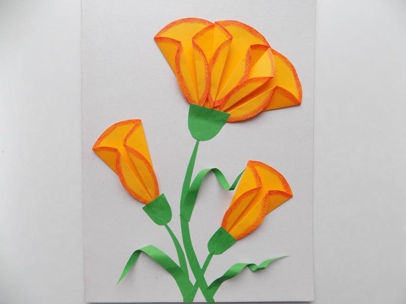 Как сделать открытку с объёмными цветами из бумаги