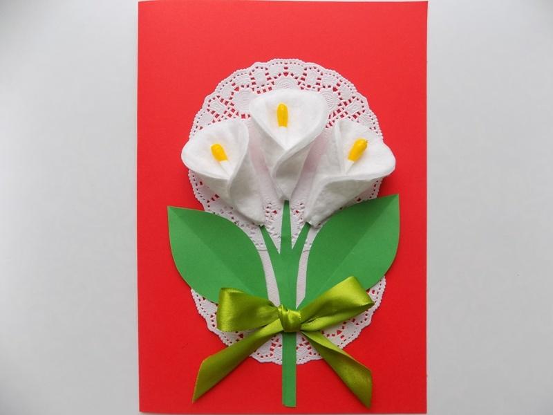 Как сделать поздравительную открытку с цветами из ватных дисков