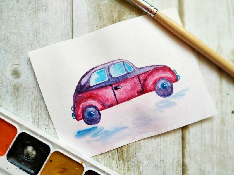 Как нарисовать акварелью скетч Машина