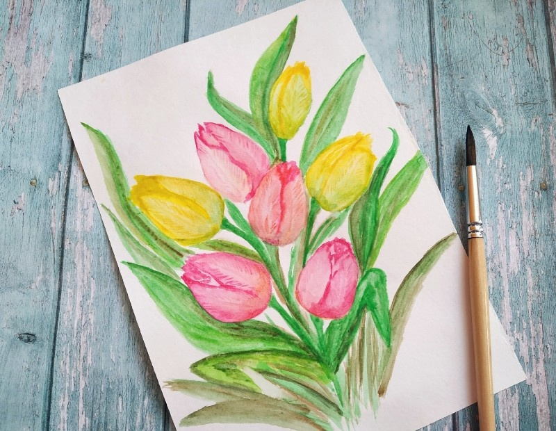 Как нарисовать акварелью тюльпаны
