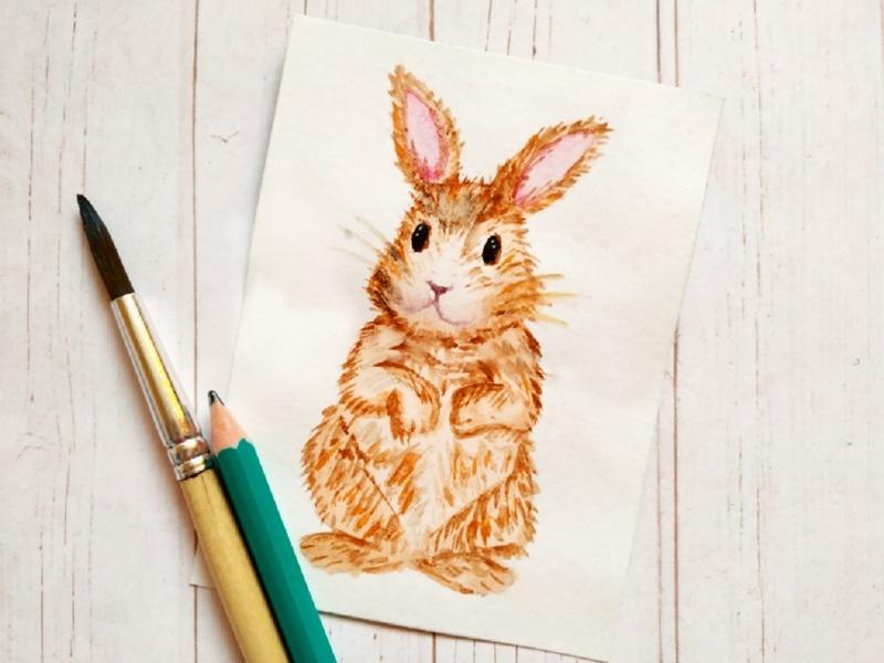 Как нарисовать зайца акварелью