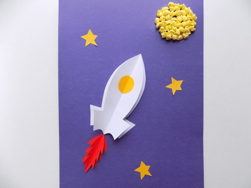 Как сделать объёмную аппликацию Космос из бумаги и салфеток