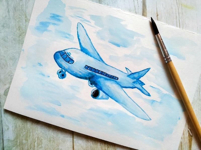 Как нарисовать самолёт акварелью