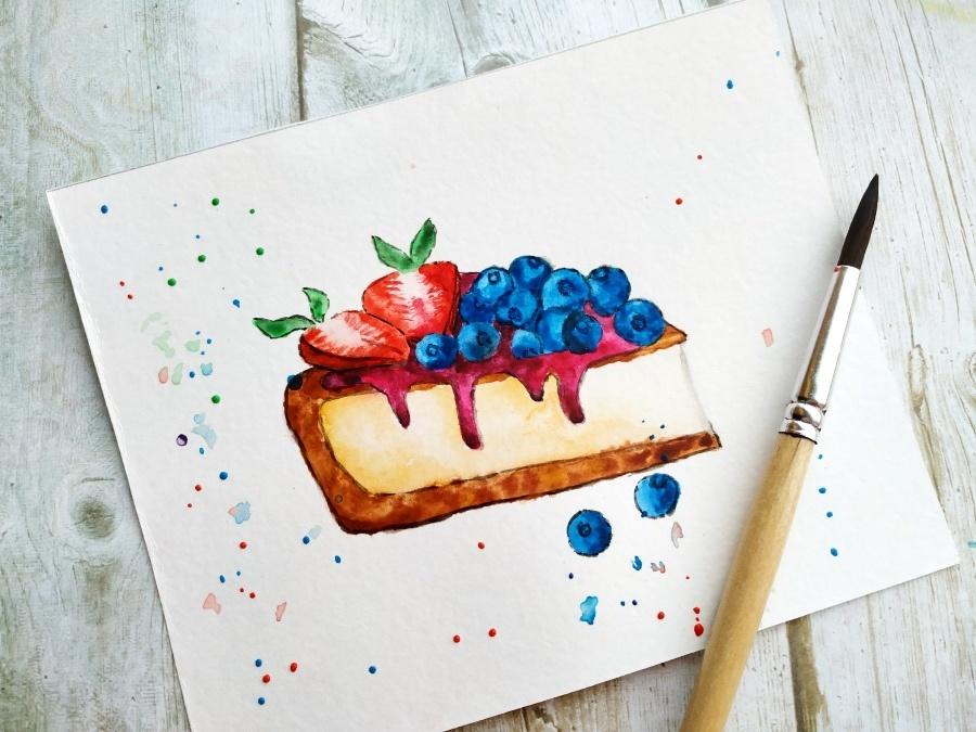 Как нарисовать акварелью пирожное