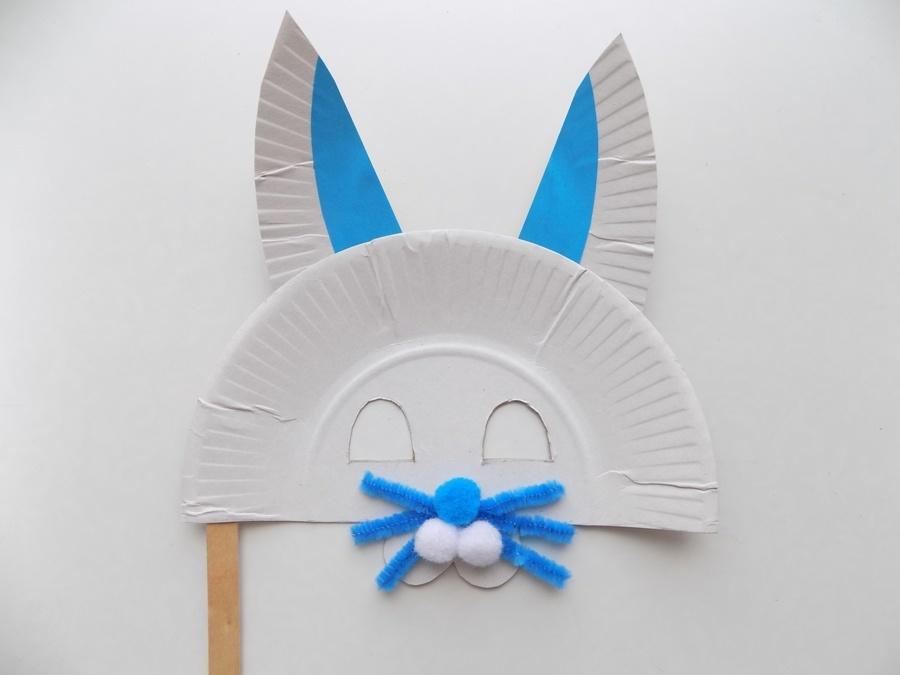 Как сделать маску зайца из бумажной тарелки