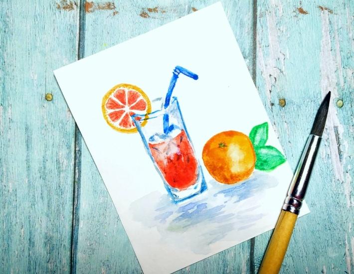 Как нарисовать акварелью стакан с соком