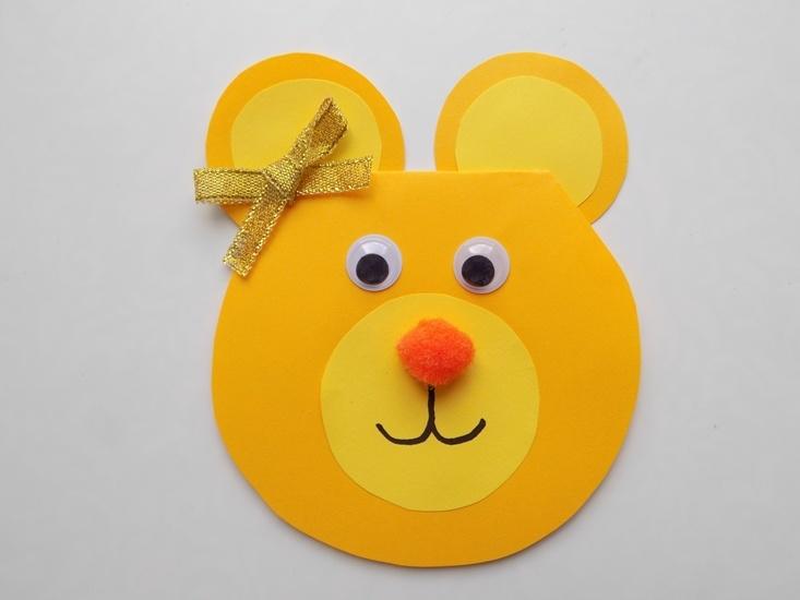 Как сделать поздравительную открытку в виде мишки