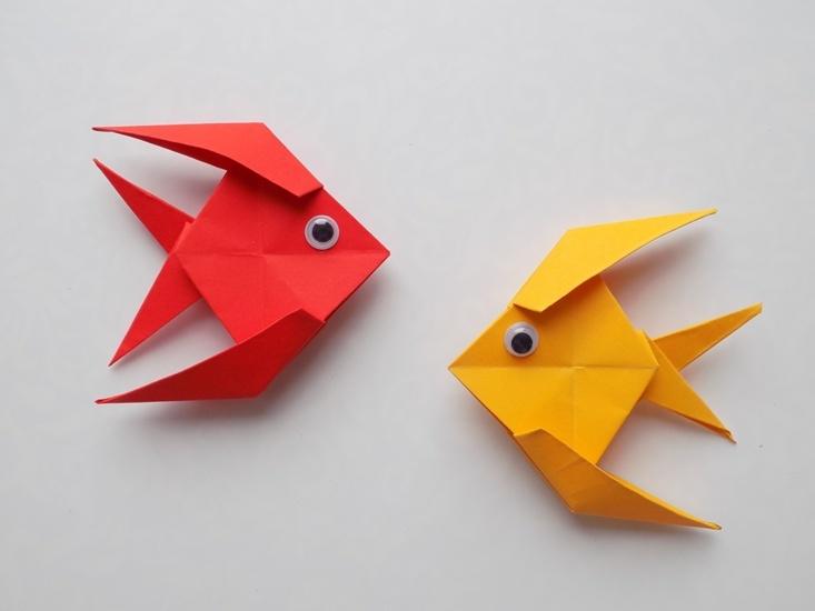 Как сделать рыбку из бумаги в технике оригами