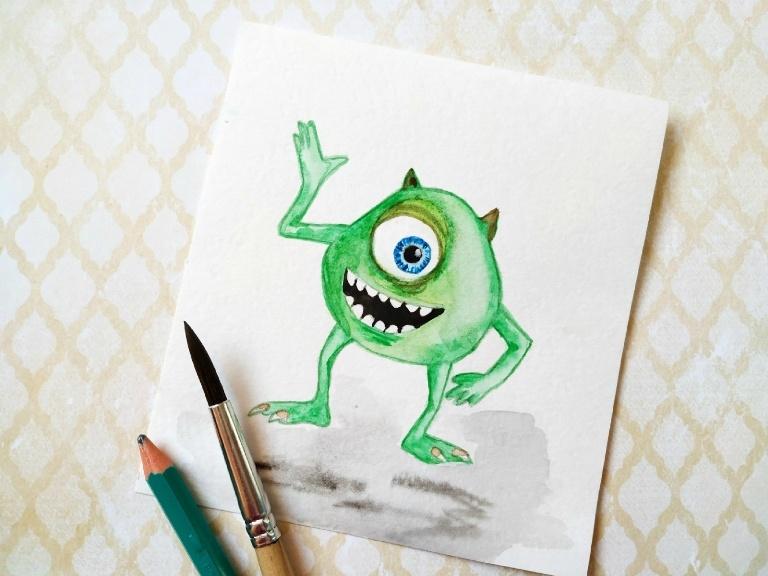 Как нарисовать акварелью скетч «Майк Вазовски»