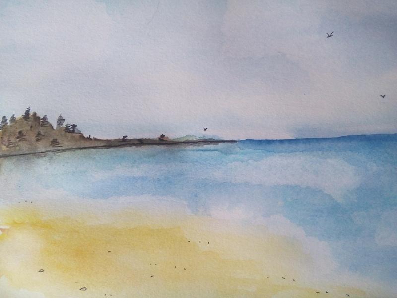 Как нарисовать акварелью пляж