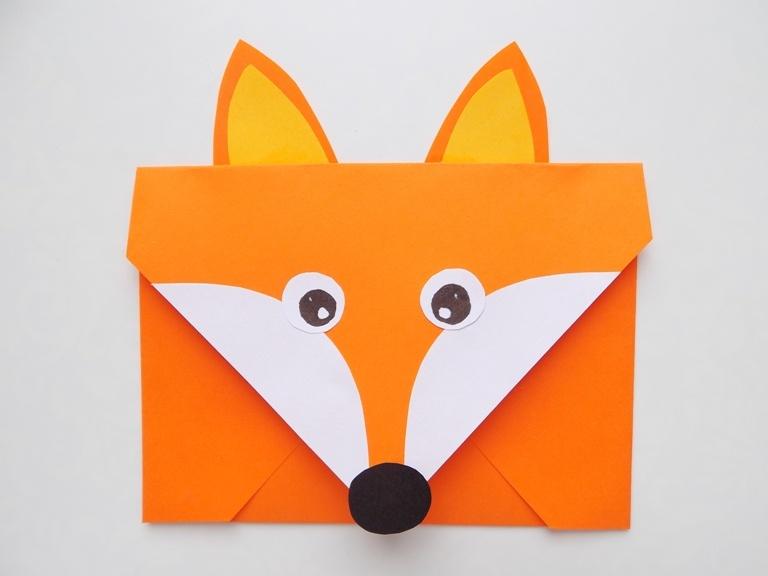 Как сделать конверт из бумаги в виде лисички