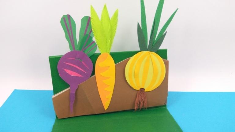 Развивающая поделка из бумаги «Овощи на грядке»