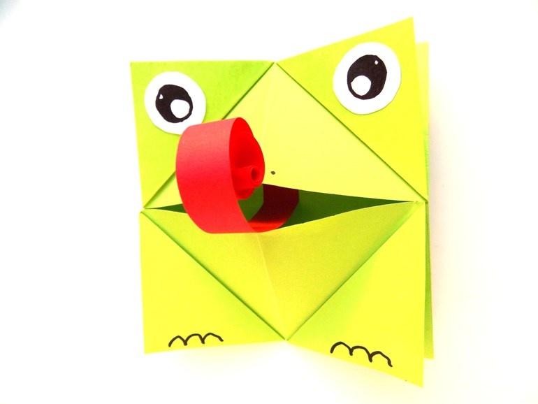 Как сделать из бумаги лягушку, открывающую рот
