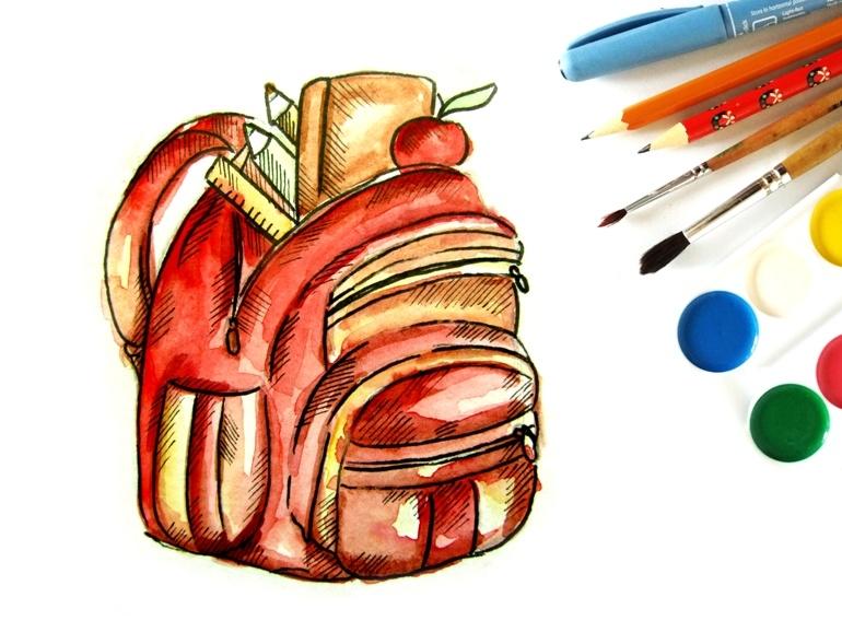 Как нарисовать акварелью школьный рюкзак