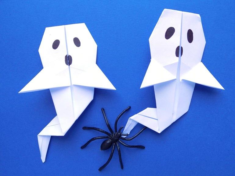 Поделки на Хэллоуин. Как сделать привидение из бумаги