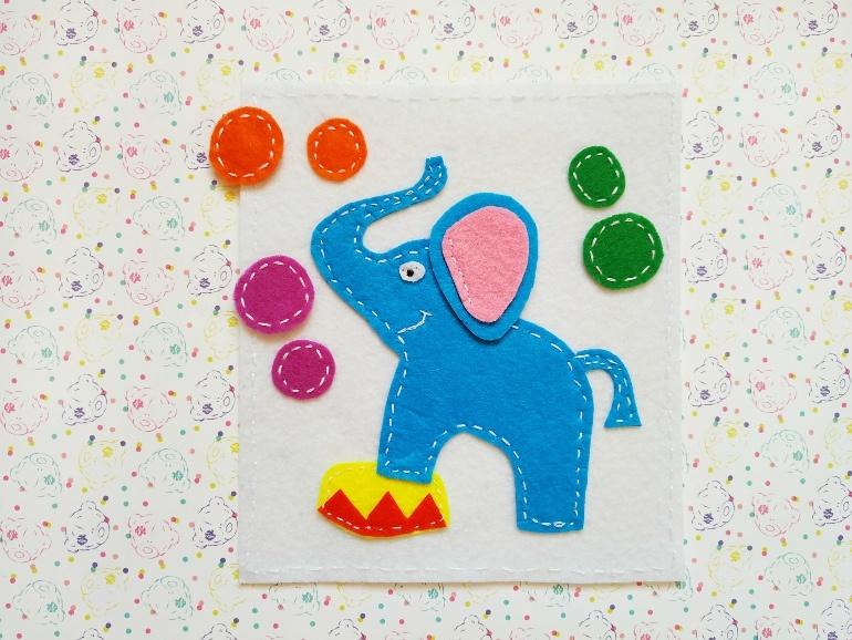 Как сделать развивающую игру из фетра Слон с шариками